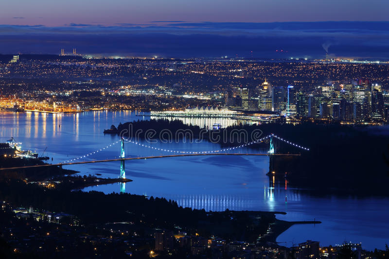 De Schemering van Vancouver van de Burrardinham royalty-vrije stock fotografie