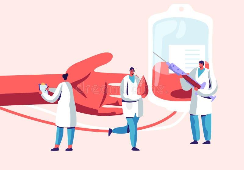 De schenking van het bloed Mannelijke, Vrouwelijke Karakters in Medische Eenvormige Makende Bloedtransfusie van Menselijke Hand a stock illustratie
