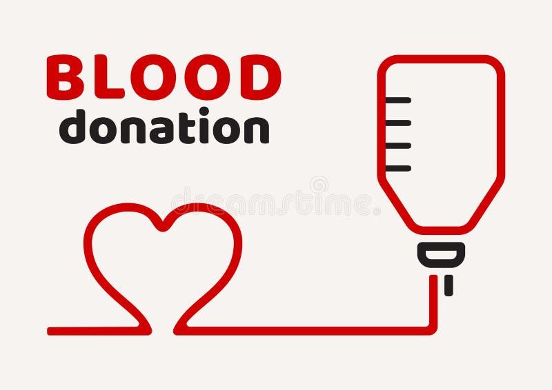 De schenking van het bloed Zwarte en rode affiche op de Dag van de WereldBloedgever Vector stock illustratie
