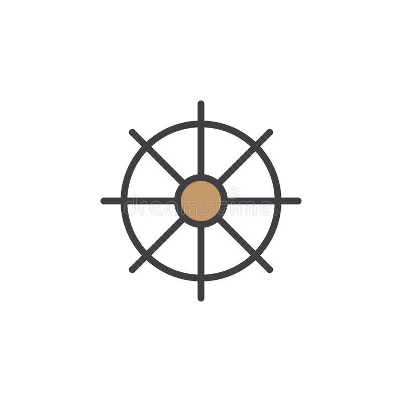 De schepen rijden, het pictogram van de roerlijn, gevuld overzichts vectorteken, lineair kleurrijk die pictogram op wit wordt geï stock illustratie