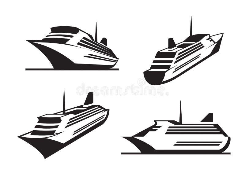 De schepen van de cruise in perspectief royalty-vrije illustratie
