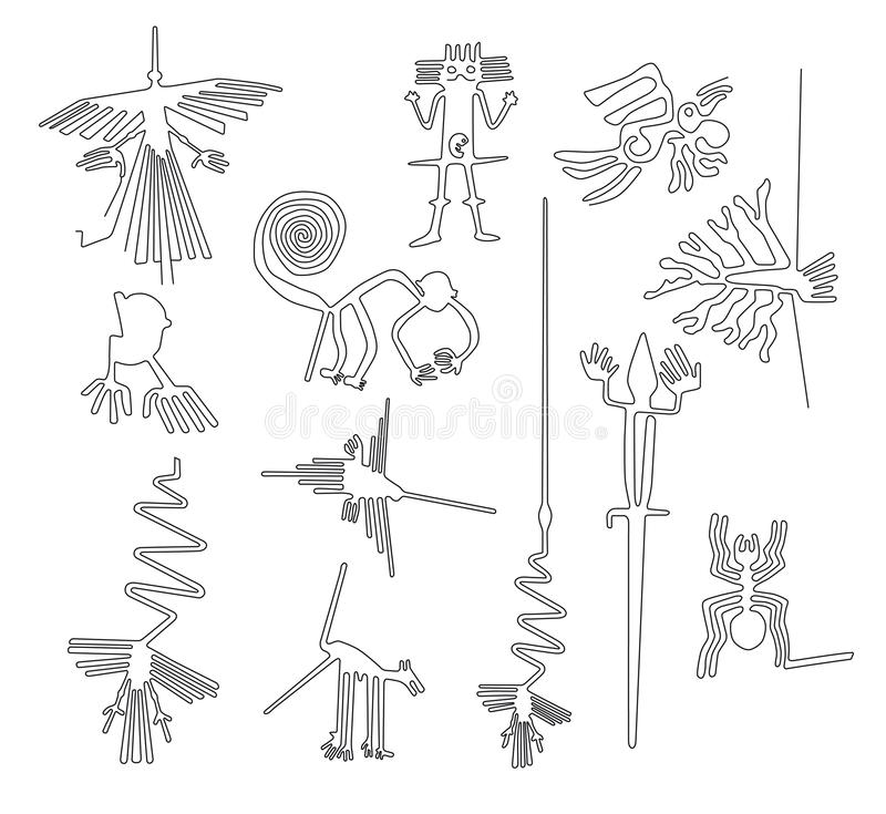 De schepselen van Nazcalijnen van Nazca-woestijn in Peru stock illustratie