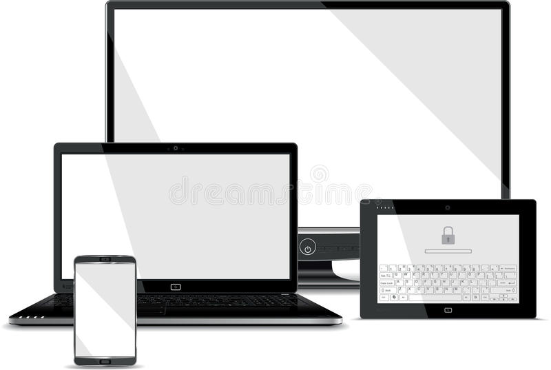 De schermeninzameling - Slimme Telefoon, Laptop, Tablet,  vector illustratie