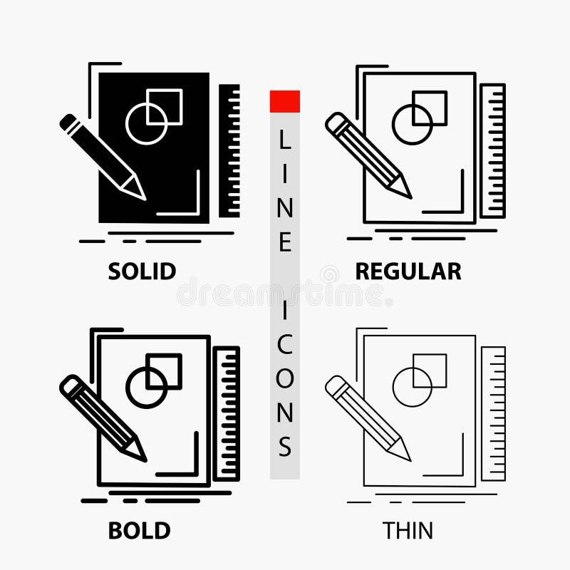 de schets, het schetsen, ontwerp, trekt, meetkundepictogram in Dunne, Regelmatige, Gewaagde Lijn en Glyph-Stijl Vector illustrati vector illustratie