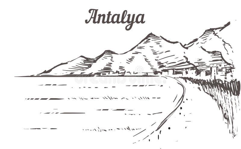 De schets van de Antalyahorizon Antalya, getrokken het strandhand van Turkije vector illustratie