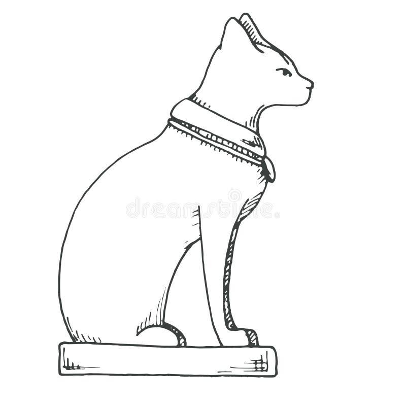 De schets van Bastet Egyptische die kat op witte achtergrond wordt geïsoleerd vector illustratie