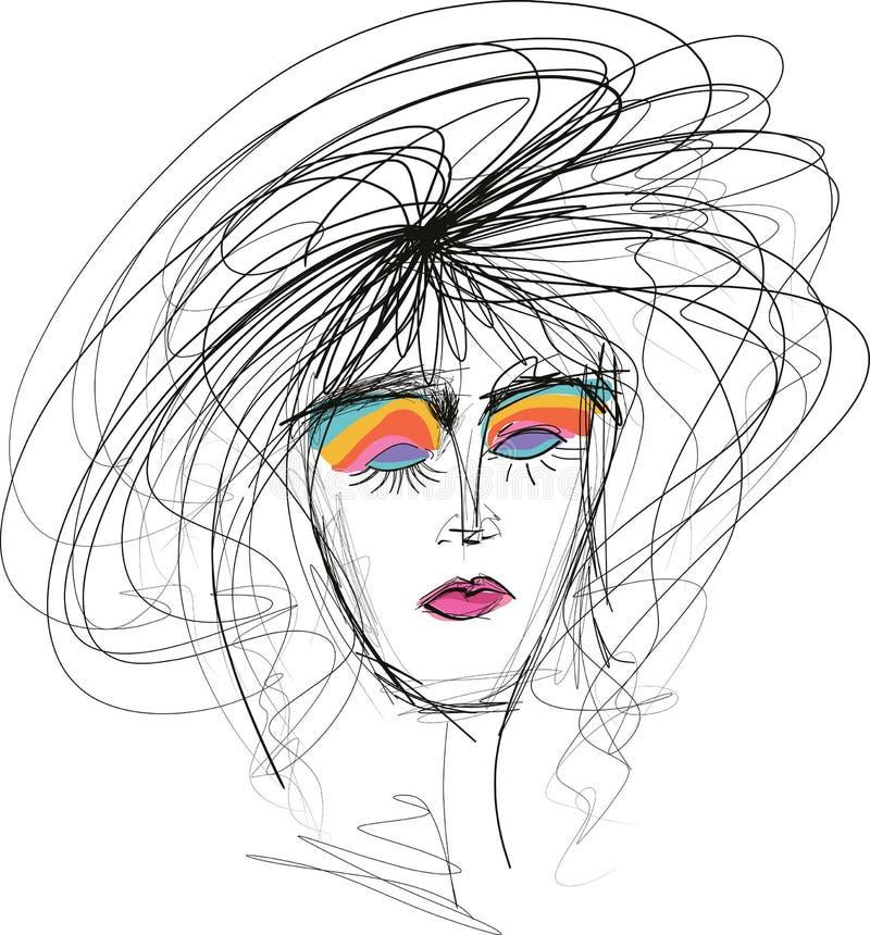 De schets van de Beautfulvrouw met slordig haar stock illustratie
