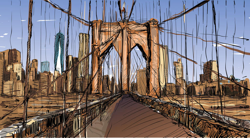 De schets van cityscape in New York toont de Brug van Brooklyn en buildin royalty-vrije illustratie