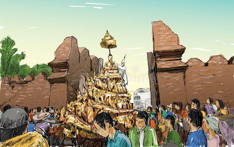De schets van cityscape in Thailand toont traditionele parade royalty-vrije illustratie