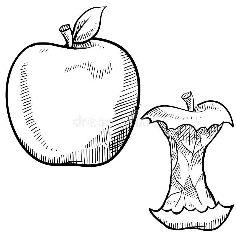 De schets van de appel en van de appelkern stock illustratie