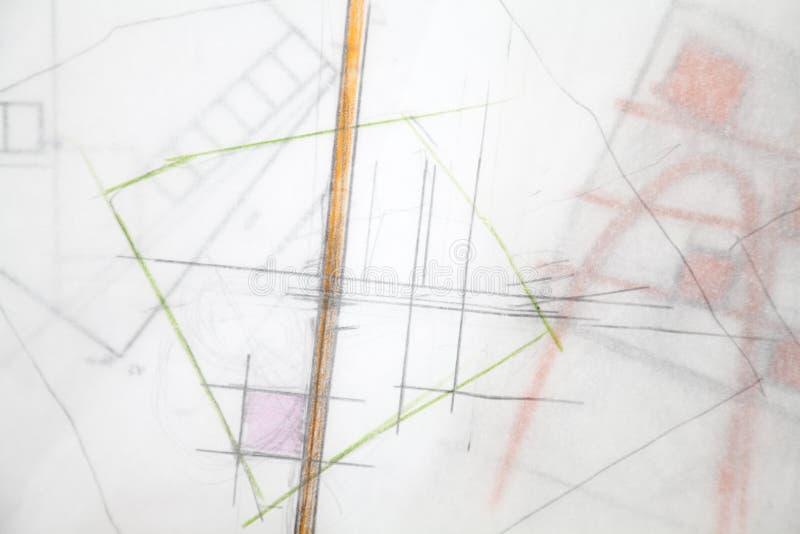 De Schets van de architect. stock afbeeldingen