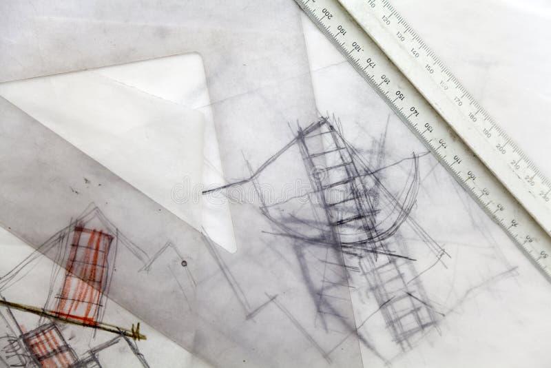 De Schets van de architect. royalty-vrije stock afbeeldingen