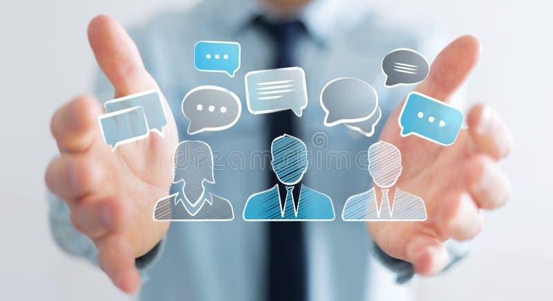 De schets van de besprekingspictogrammen van de zakenmanholding vector illustratie