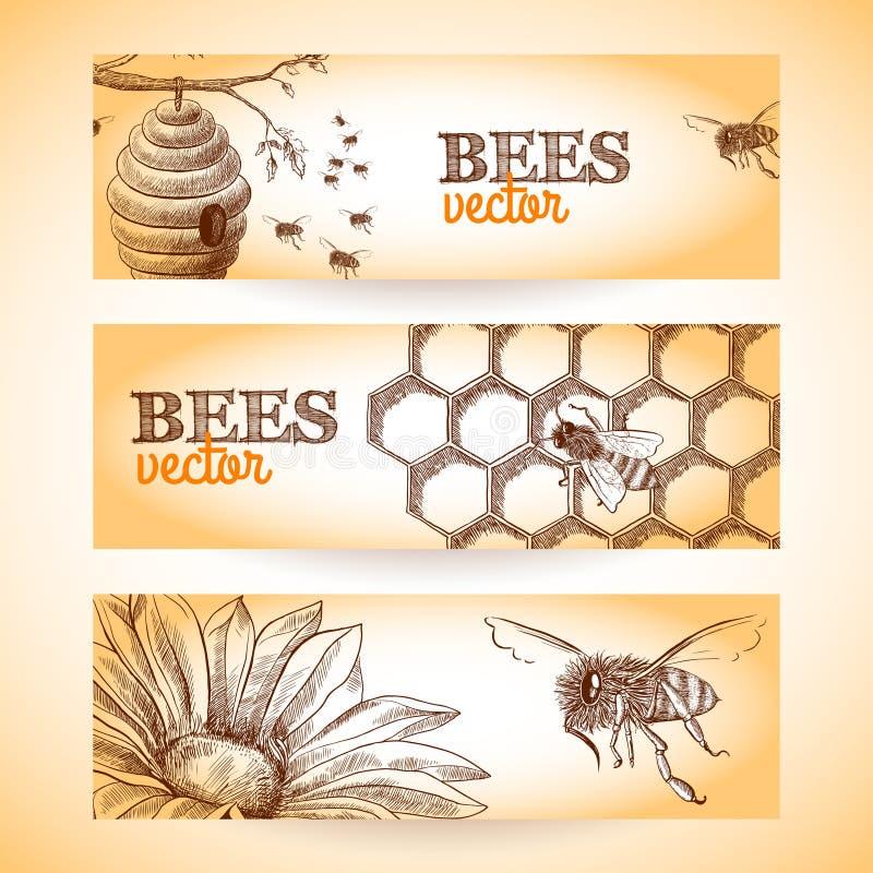 De schets van de bijenbanner stock illustratie