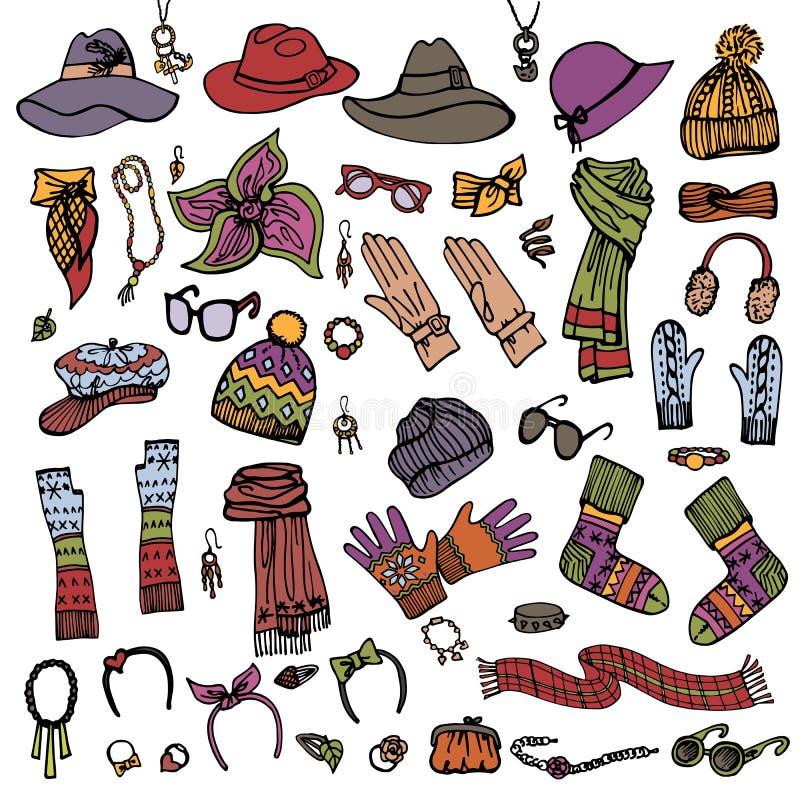 De schets van de manier Vrouwelijke Geplaatste Toebehoren De herfst, royalty-vrije illustratie