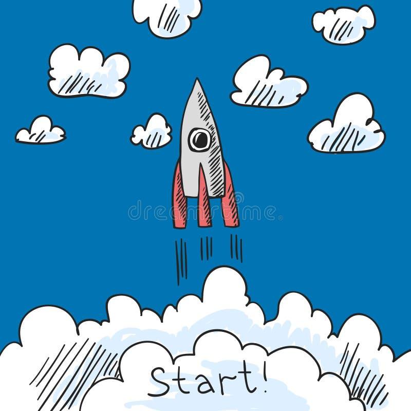 De schets van de raketaffiche royalty-vrije illustratie