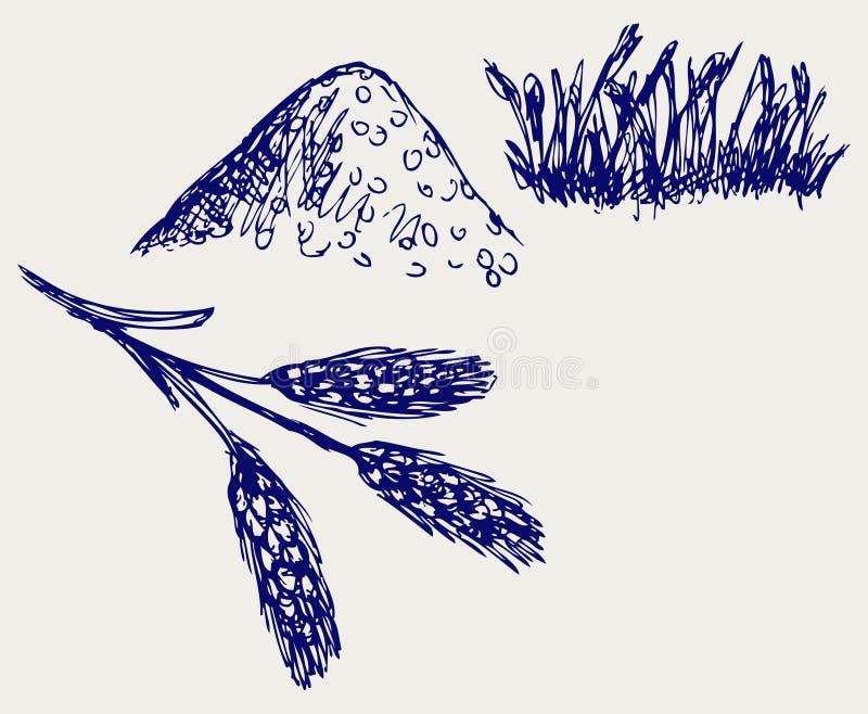 De schets van de rogge vector illustratie