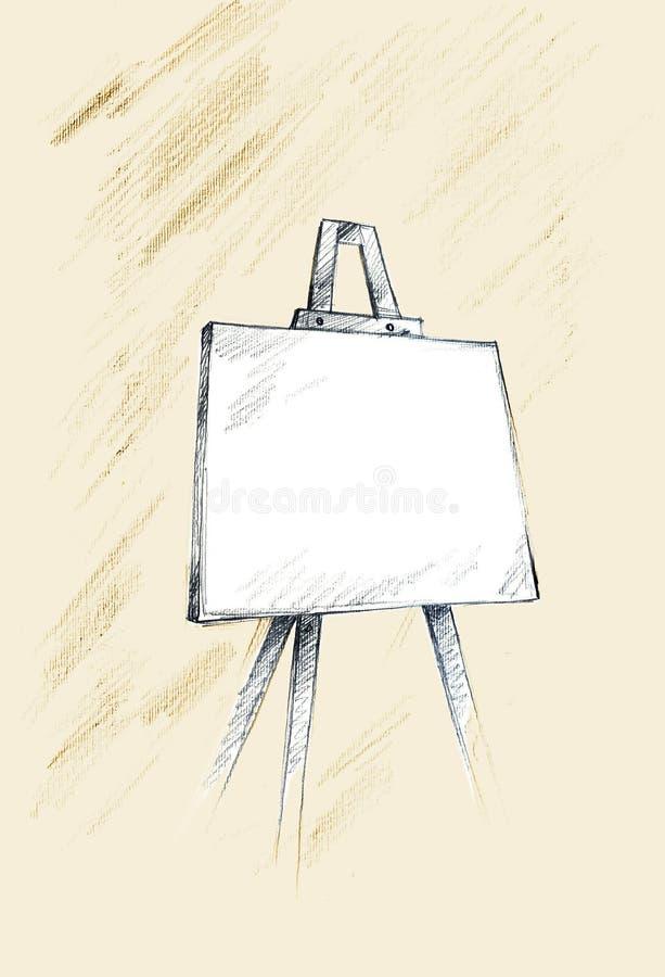 De schets van de schildersezel vector illustratie