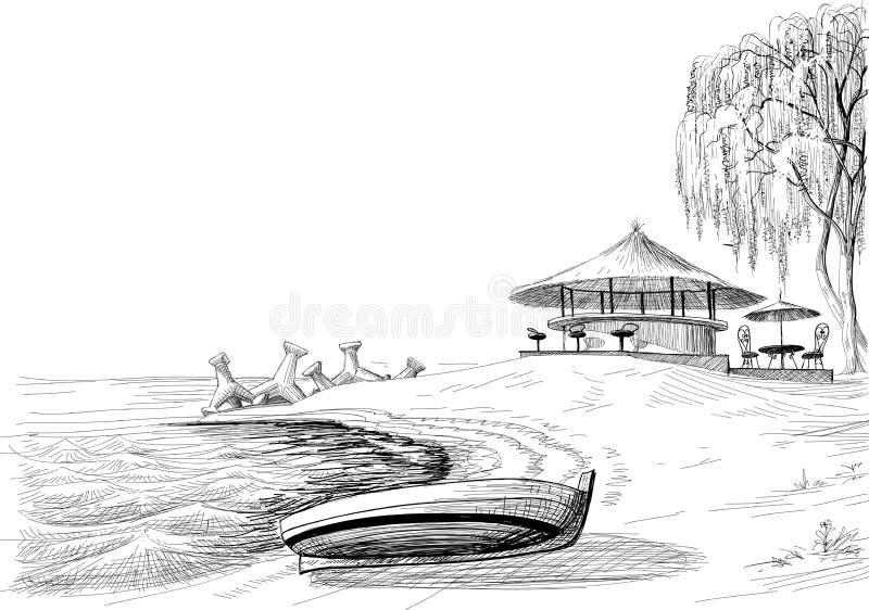 De schets van de strandbar vector illustratie