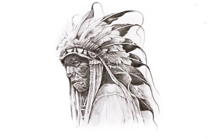 De schets van de tatoegering van de Inheemse strijder van de Indiaan royalty-vrije illustratie