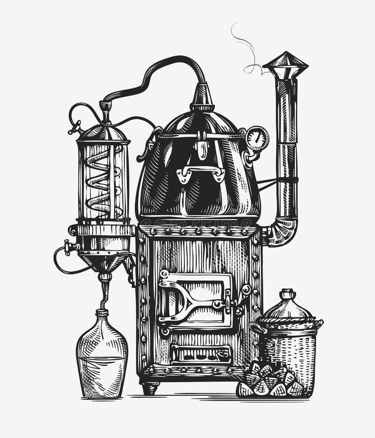 De schets van distillatieapparaten Sterke drank vectorillustratie royalty-vrije illustratie