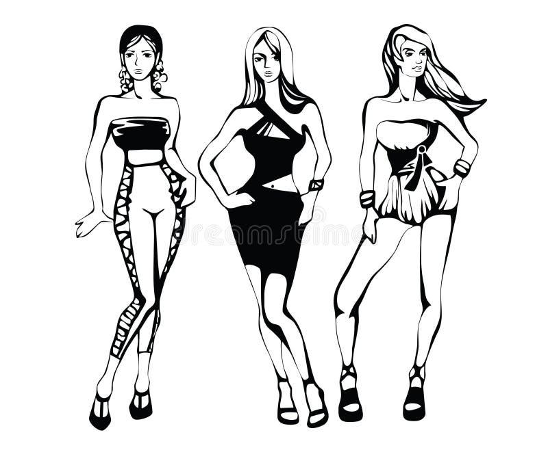 De schets van een de zomer vrouwelijke manier vector illustratie