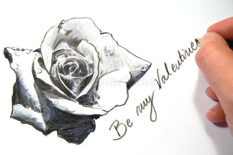 De schets van een Valentijnskaart nam toe stock fotografie