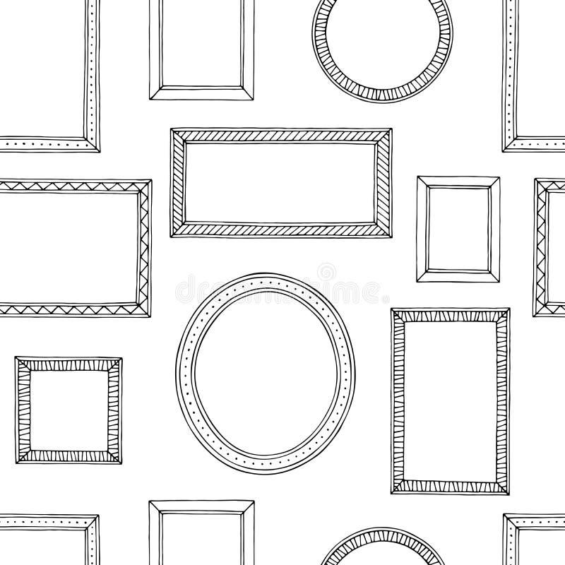 De schets van het achtergrond omlijsting grafische zwarte witte naadloze patroon illustratievector vector illustratie