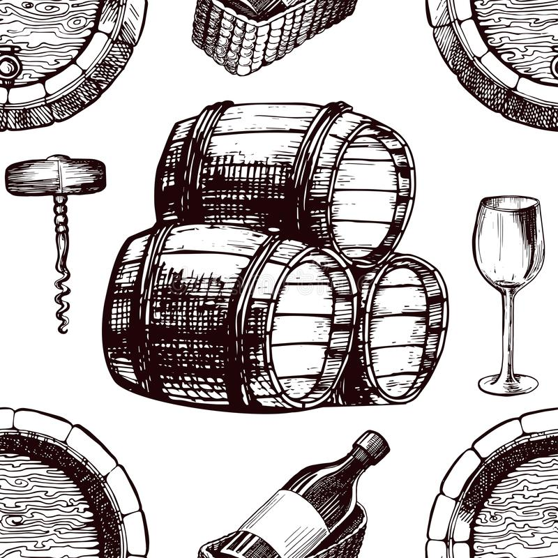 De schets van het achtergrond wijnpatroon vector naadloos wijnbereidingsvat, wijnstokglas en kurketrekker stock illustratie