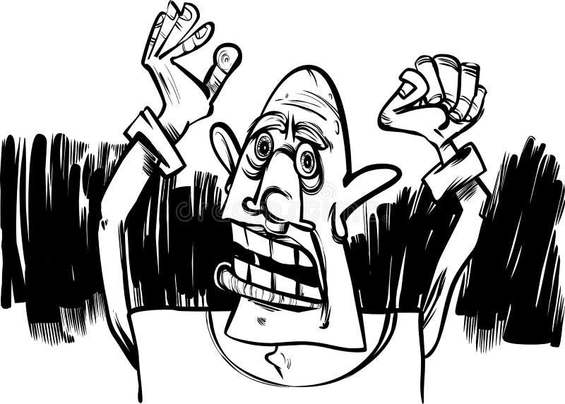 De schets van het beeldverhaal van de doen schrikken mens stock illustratie