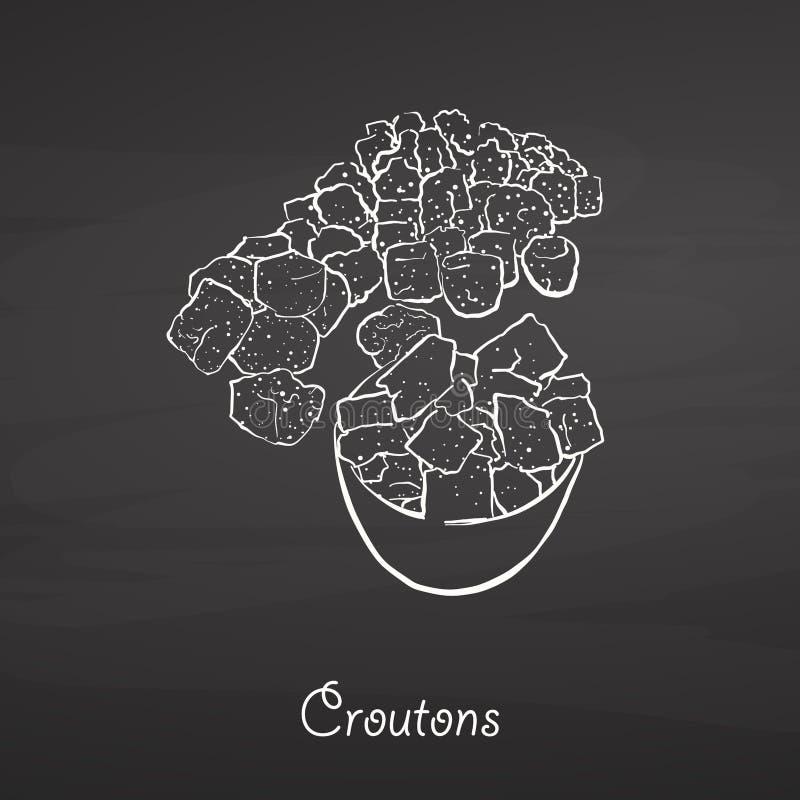 De schets van het croutonsvoedsel op bord vector illustratie