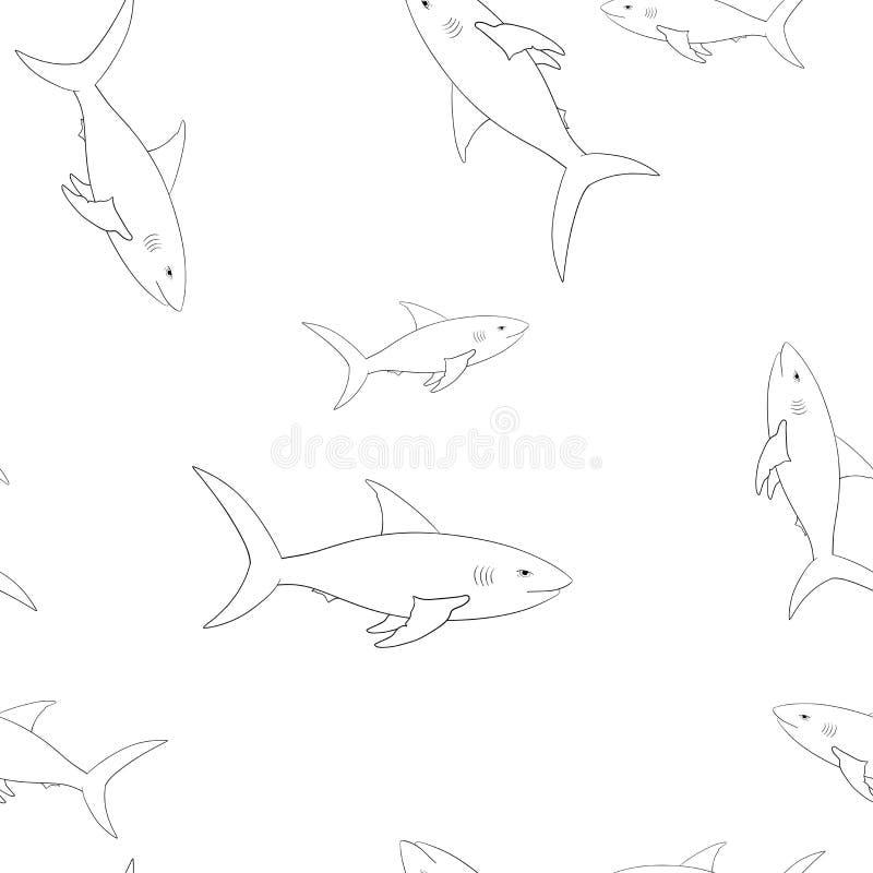 De schets van het haaienoverzicht Naadloos patroon royalty-vrije illustratie