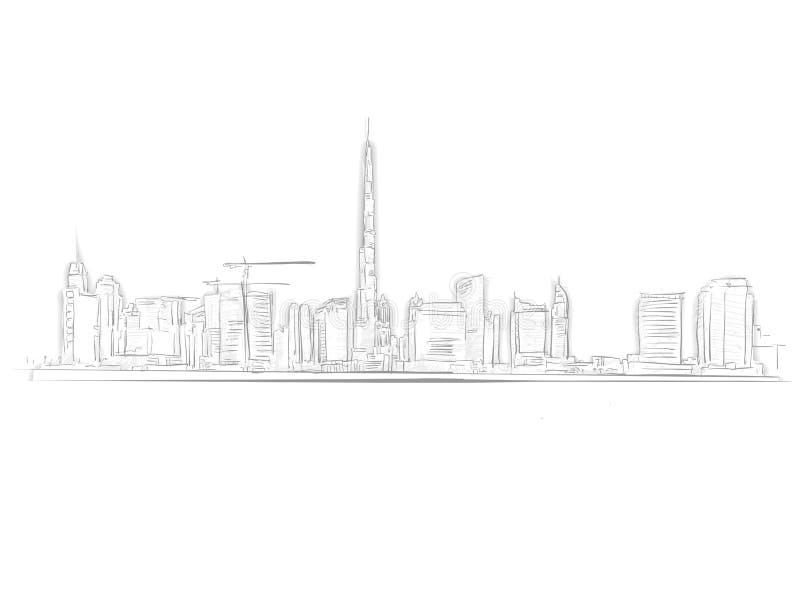 De Schets van het de Horizonoriëntatiepunt van Doubai vector illustratie
