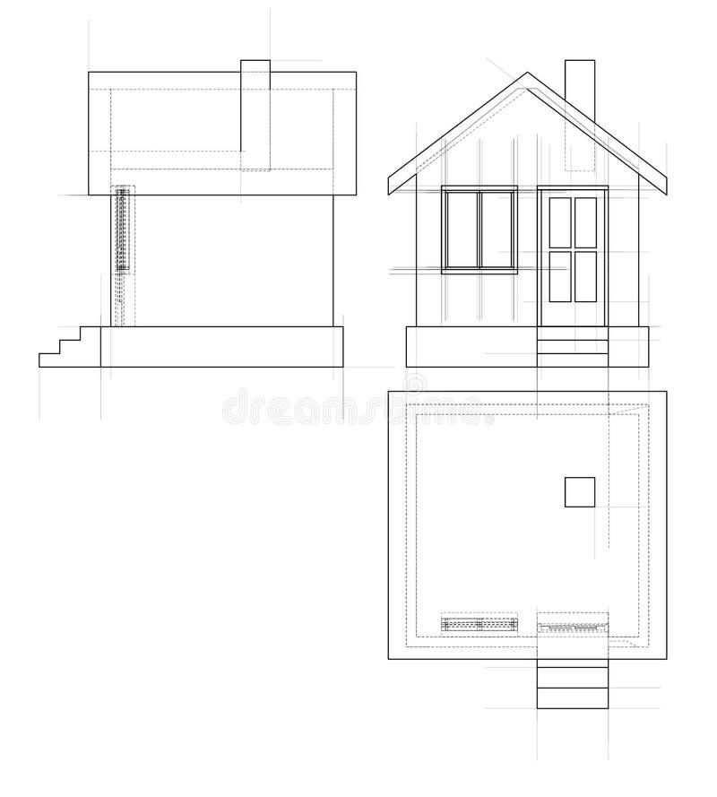 De schets van het huis 3D Illustratie vector illustratie