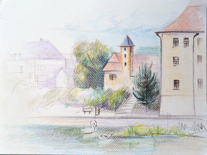 De schets van het kleurenpotlood van het kasteel, Podebrady, Tsjechische republiek vector illustratie