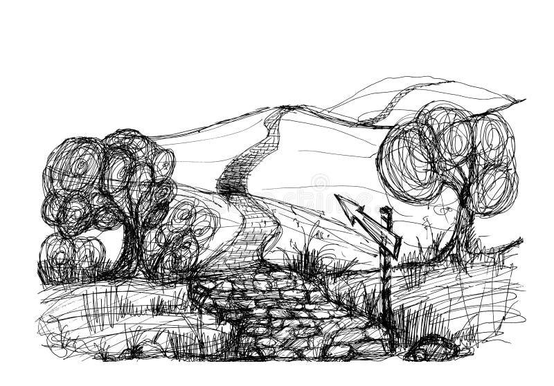 De schets van het landschap stock illustratie