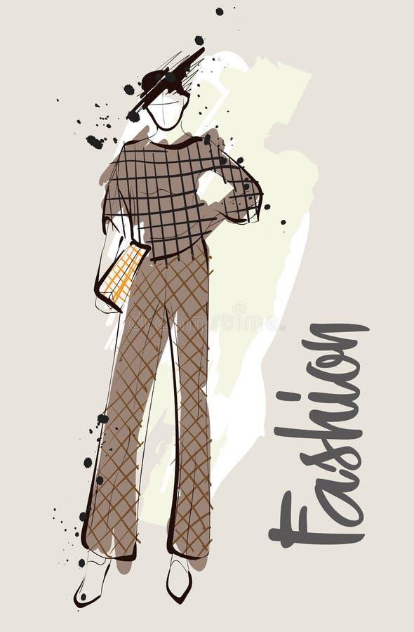 De schets van het maniermeisje Modieuze mannequin vector illustratie