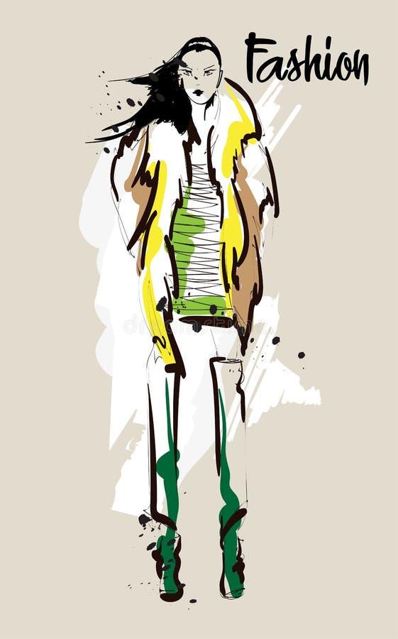 De schets van het maniermeisje Modieuze mannequin stock illustratie