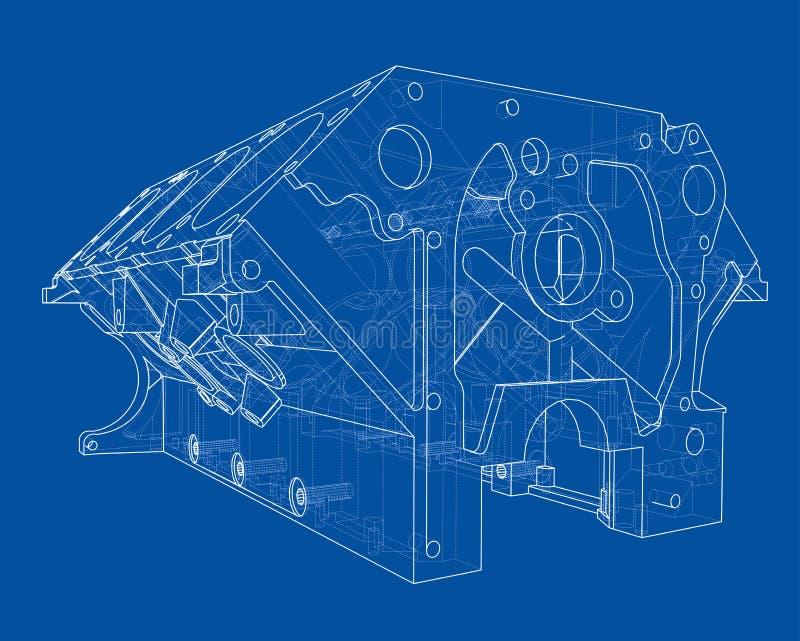De schets van het motorblok Het vector teruggeven van 3d stock illustratie