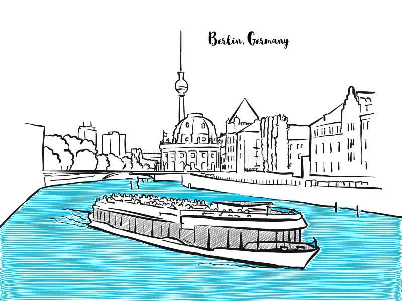 De schets van het het sightseeingspanorama van Berlijn stock illustratie