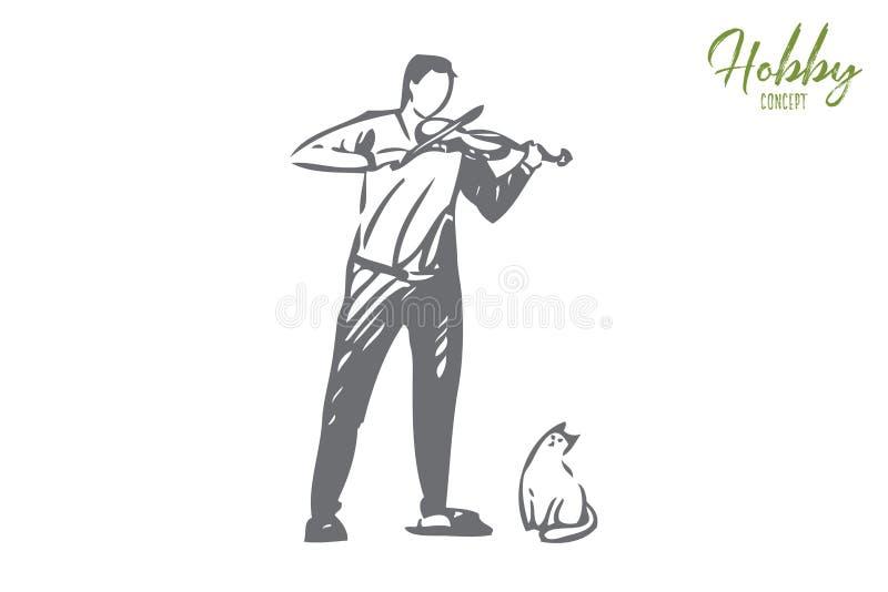 De schets van het violistconcept Ge?soleerdee vectorillustratie stock illustratie