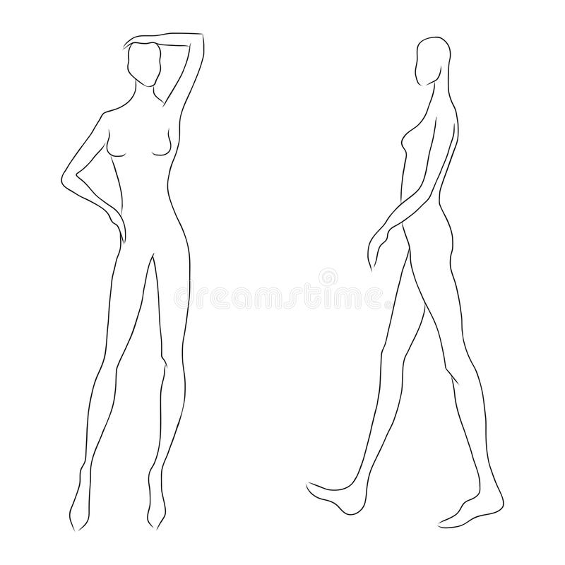 De schets van het vrouwen` s cijfer Verschillend stelt Malplaatje voor tekening voor ontwerpers van de aannemers van klerennd Het royalty-vrije illustratie