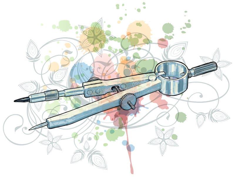 De schets van kompassen & bloemenkalligrafieornament vector illustratie
