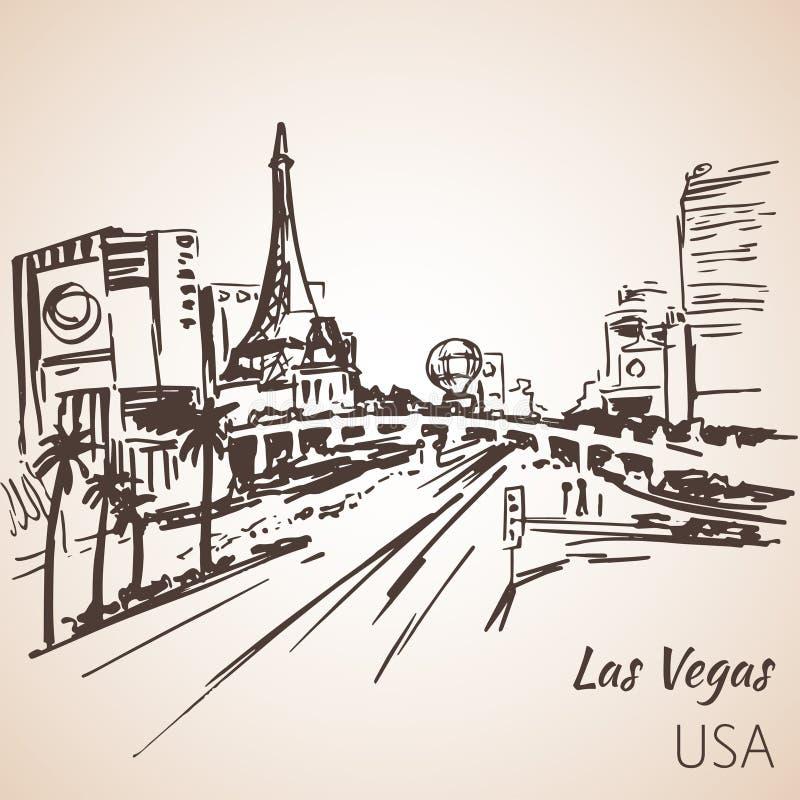 De schets van Las Vegas cityscepe royalty-vrije illustratie