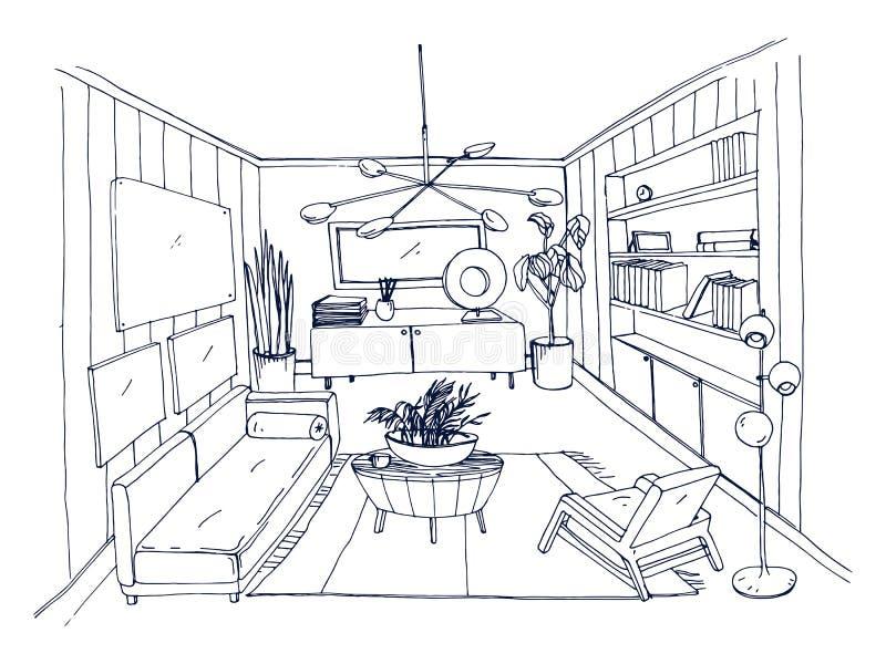 De schets van modieus woonkamerhoogtepunt van meubilair overhandigt getrokken met contourlijnen stock illustratie