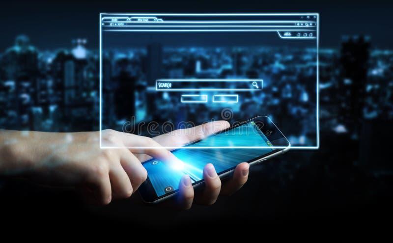 De schets van de de websitepagina van de zakenmanholding over mobiele telefoon royalty-vrije illustratie