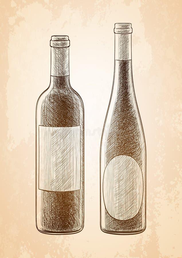 De schets van wijnflessen royalty-vrije illustratie