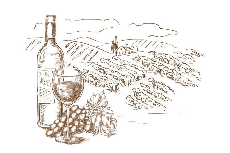 De schets vectorillustratie van het wijngaardlandschap Rode wijnfles, glazen, wijnstok, de hand getrokken elementen van het etike stock illustratie