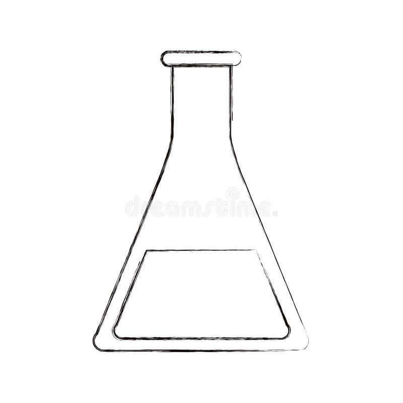 De schets vertroebelde het glasbeker van het silhouetbeeld voor laboratorium vector illustratie