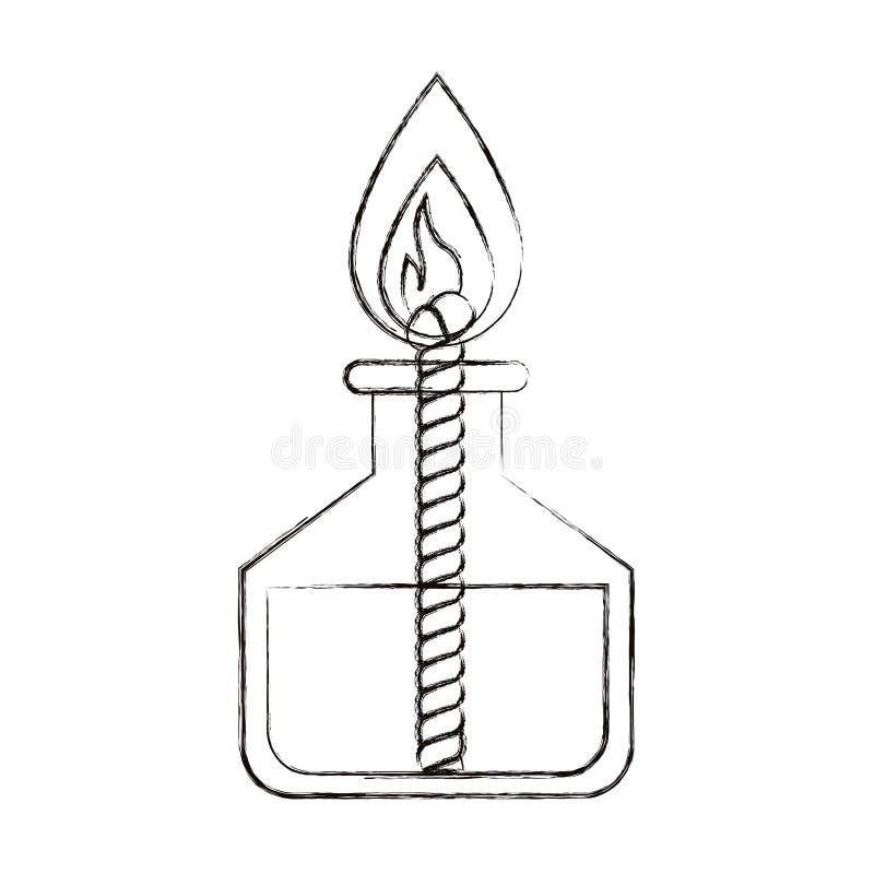 De schets vertroebelde het laboratoriumaansteker van het silhouetbeeld met kabel en vlam royalty-vrije illustratie